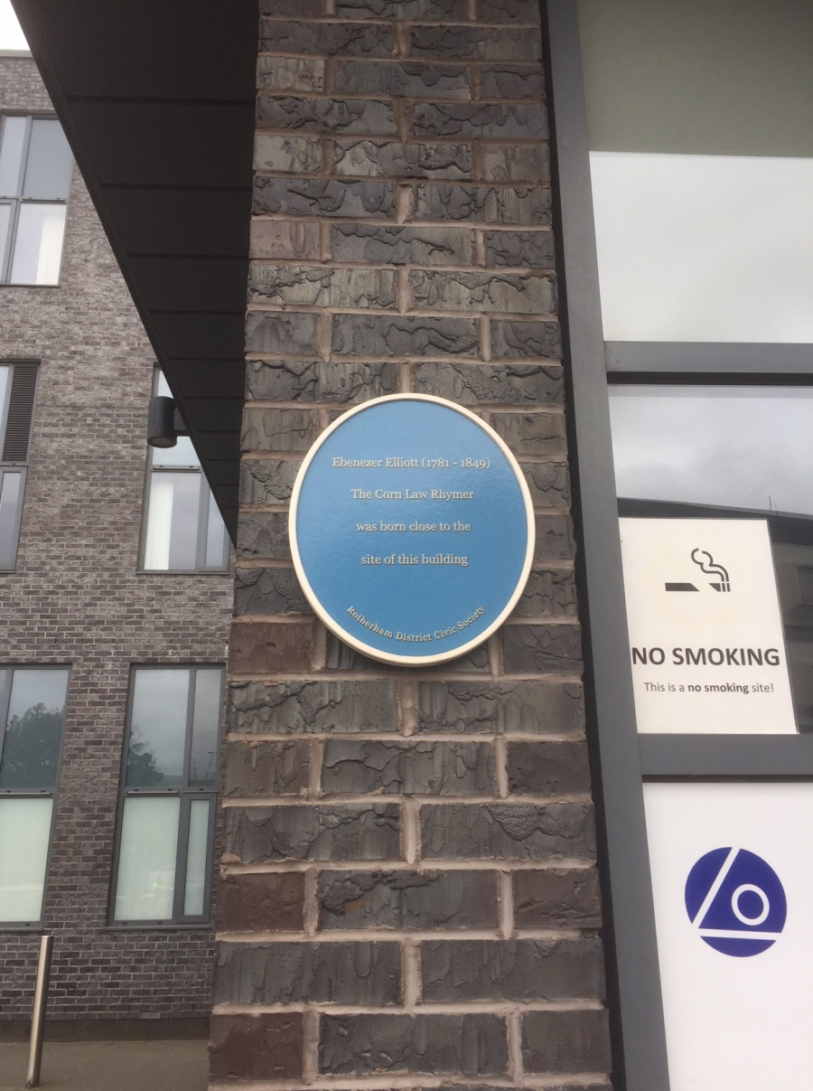 Plaque that commemorates birthplace of Ebenezer Elliott in Rotherham