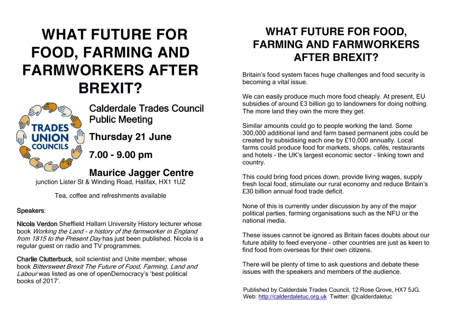 Food + Farming public meeting 6-18 leaflet with TUCs logo